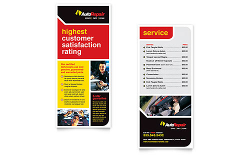 Auto Repair Rack Card Template