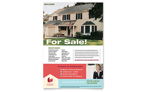 Real estate flyers templates designs for House for sale brochure template