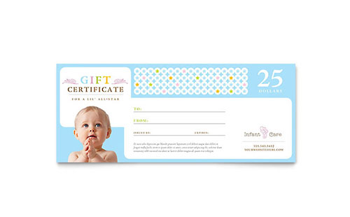 Infant Care & Babysitting Gift Certificate Template