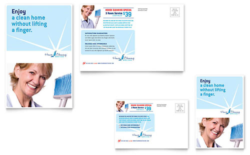 House Cleaning & Housekeeping Postcard Template