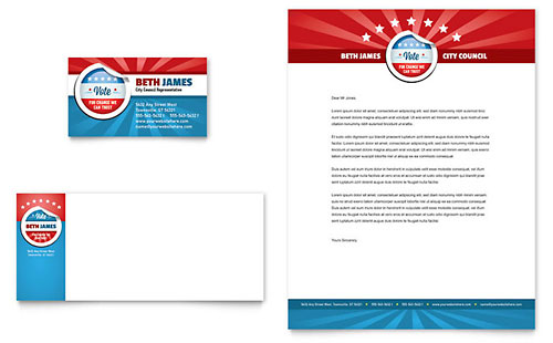 Political Candidate Business Card & Letterhead Template