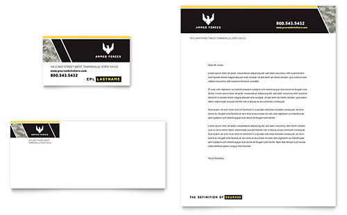 Military Business Card & Letterhead Template