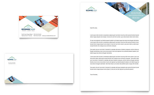 Window Cleaning & Pressure Washing Business Card & Letterhead Template