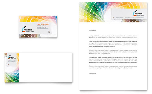House Painting Contractor Business Card & Letterhead Template