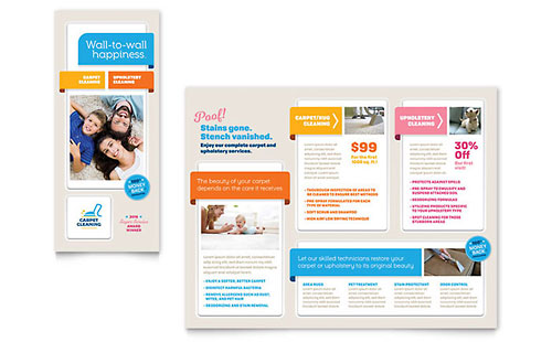 Carpet Cleaning Tri-Fold Brochure Template Design