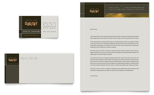 Art Gallery & Artist Business Card & Letterhead Template