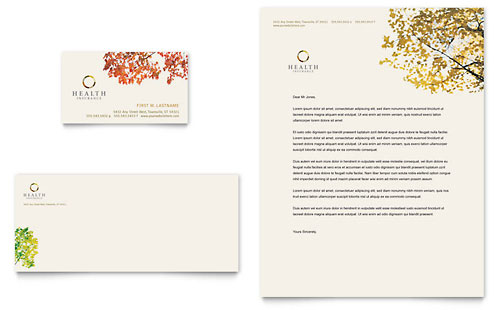 Health Insurance Company Business Card & Letterhead Template