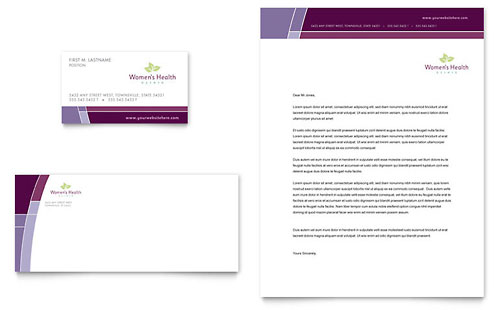 Women's Health Clinic Business Card & Letterhead Template