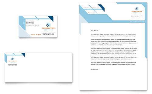 medical transcription business card letterhead template