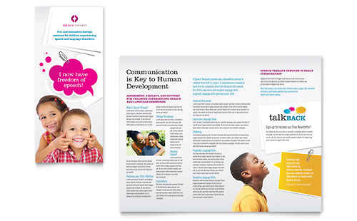 Speech Therapy Education Tri Fold Brochure Template