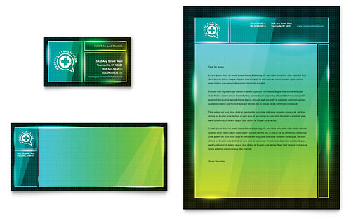 Medical Conference Business Card & Letterhead Template
