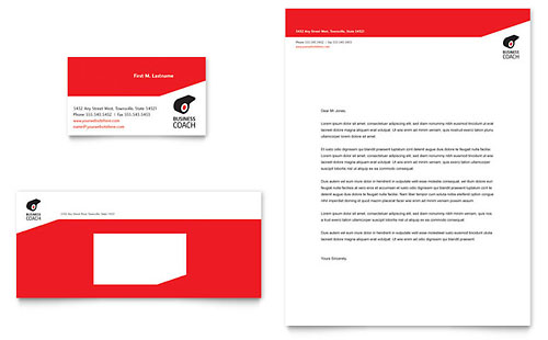 Business Executive Coach Business Card & Letterhead Template