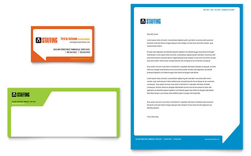 Staffing & Recruitment Agency Business Card & Letterhead Template