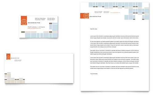 Civil Engineers Business Card & Letterhead Template