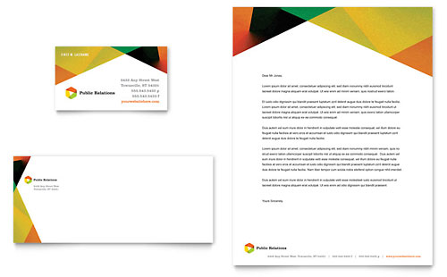 Public Relations Company Business Card & Letterhead Template