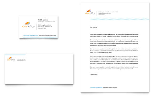 Janitorial & Office Cleaning Business Card & Letterhead Template