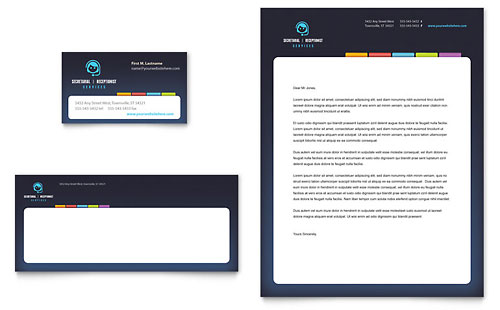 Secretarial Services Business Card & Letterhead Template