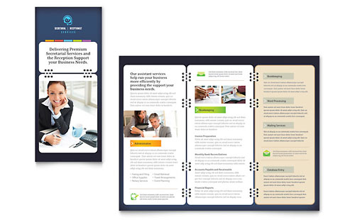 Secretarial Services Tri Fold Brochure Template