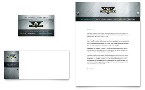 Locksmith Business Card & Letterhead Template