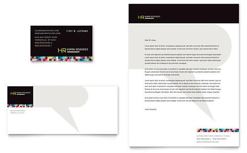 Human Resource Management Business Card & Letterhead Template