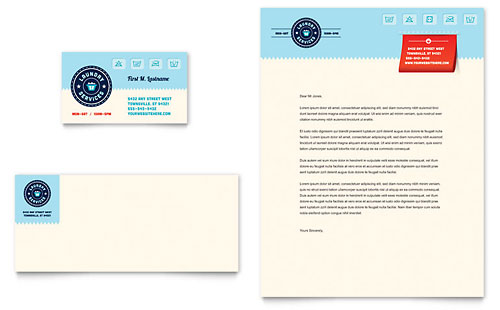 Laundry Services Business Card & Letterhead Template