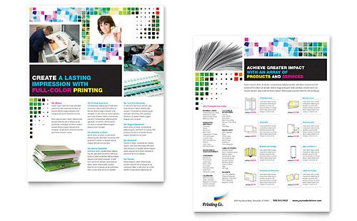 Printing Company Datasheet Template