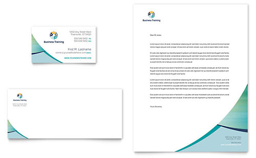 Business Training Business Card & Letterhead Template
