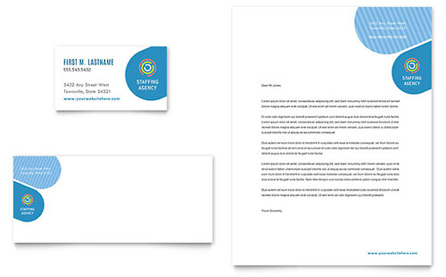 Employment Agency Business Card & Letterhead Template