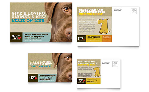 Animal Shelter & Pet Adoption Postcard Template