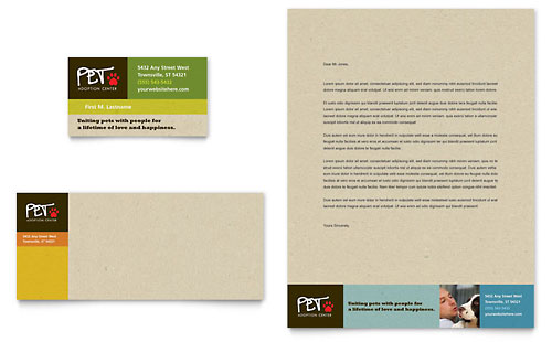 Animal Shelter & Pet Adoption Business Card & Letterhead Template