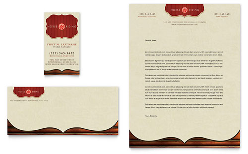 Horse Riding Stables & Camp Business Card & Letterhead Template
