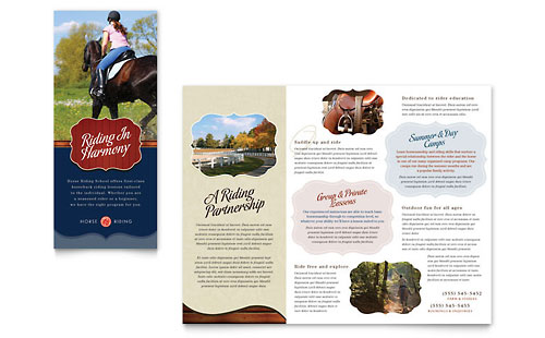 Horse Riding Stables & Camp Tri Fold Brochure Template