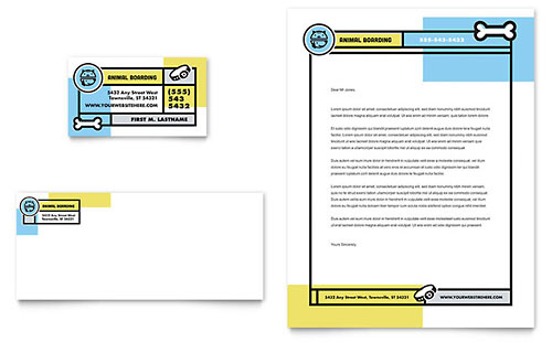 Pet Boarding Business Card & Letterhead Template