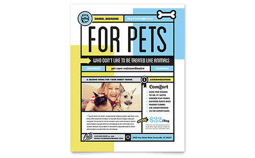 Pet Boarding Leaflet Template