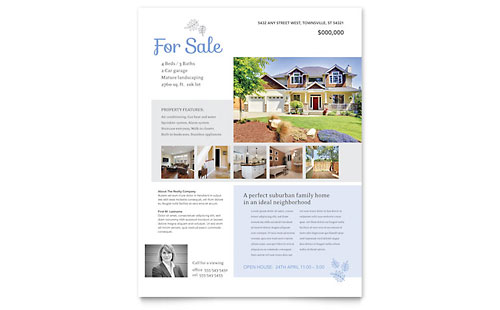 Real Estate Agent Flyer Templates – For Sale Ad Template