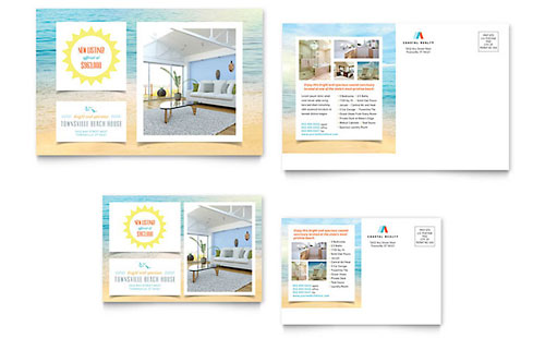 Beach House Postcard Template