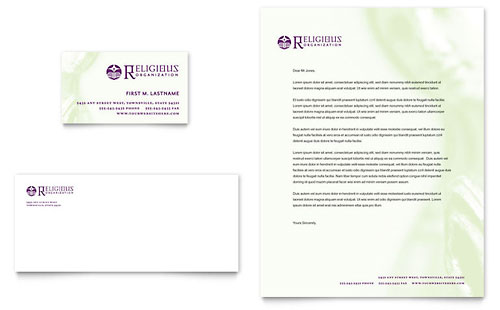 Catholic Parish and School Business Card & Letterhead Template