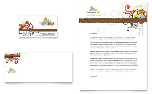 Church Youth Group Business Card & Letterhead Template