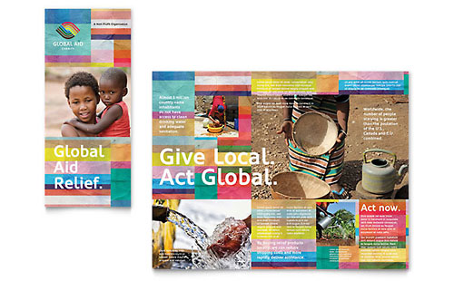 Humanitarian Aid Organization InDesign Brochure Template