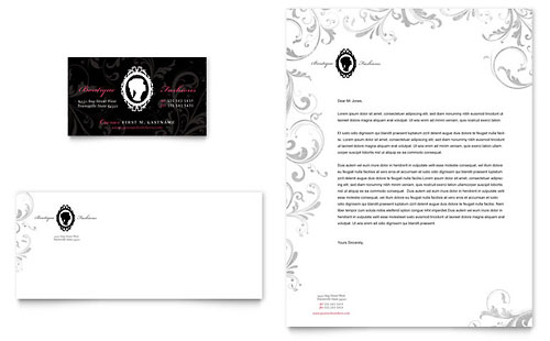 Formal Fashions & Jewelry Boutique - Business Card & Letterhead Template