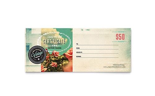 Vintage Clothing Gift Certificate Template