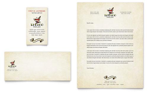 Body Art & Tattoo Artist Business Card & Letterhead Template