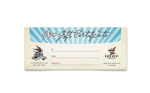 Body Art & Tattoo Artist Gift Certificate Template