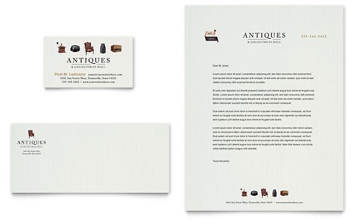 Antique Mall Business Card & Letterhead Template
