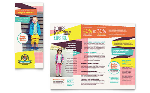 Kids Consignment Shop Print Design Brochure Template