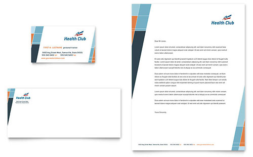 Health & Fitness Gym Business Card & Letterhead Template