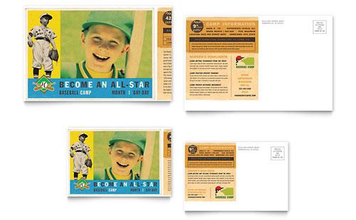 Baseball Sports Camp Postcard Template