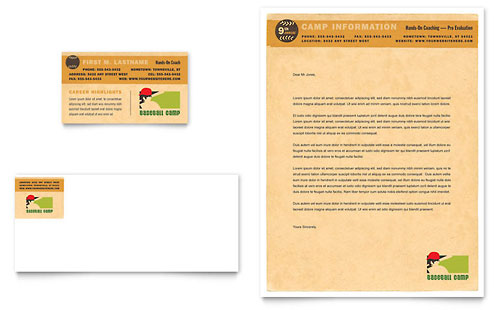 Baseball Sports Camp Business Card & Letterhead Template