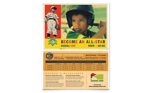 Baseball Sports Camp Flyer Template