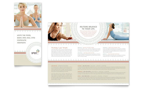 Pilates & Yoga Tri Fold Brochure Template